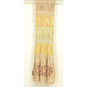 Tolani Accessories - Tolani scarf beige green cream floral design beads